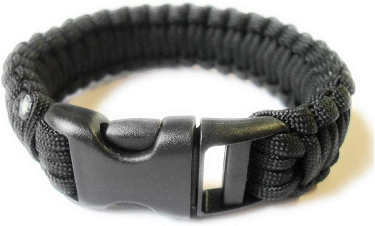 "Amazon.com : Para-Cord Survival Bracelet ""Black"" 8 Inch : Camping ..."