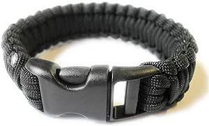 "Para-Cord Survival Bracelet ""Black"" 8 Inch"