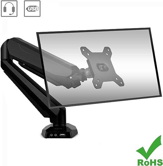 BESTEK Support Ecran Moniteur PC Ordinateur Bras Articul/é Hauteur Angle R/églable Flexible Ressort /à Gaz Support 17-27 Pouces LCD//TFT//LED Supportable 8kg en Alliage dAluminium avec Port USB Noir