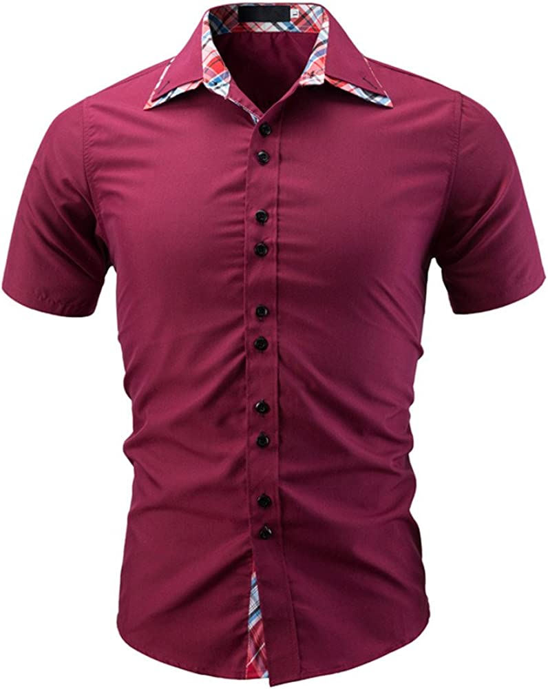 nurrat Men Casual Short Sleeve Stand Collar Tops Summer Button Shirts T-Shirts