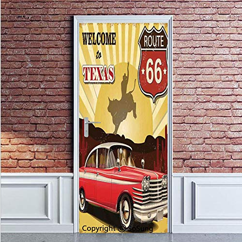 Vintage Decor Door Wall Mural Wallpaper Stickers,Welcome to Texas Signboard Poster with Cadillac Art Car Cowboys Town Rodeo Decor,Vinyl Removable 3D Decals 35.4x78.7/2 Pieces set,for Home Decor Multi