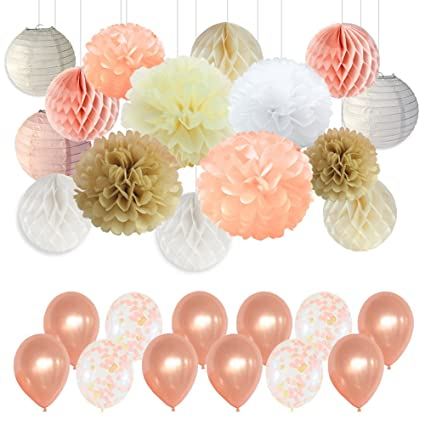 Amazon Com Wedding Party Decorations Peach Ivory Champagne White