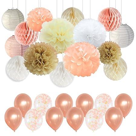 Pompones de papel para fiesta, decoraciones con champán y ...