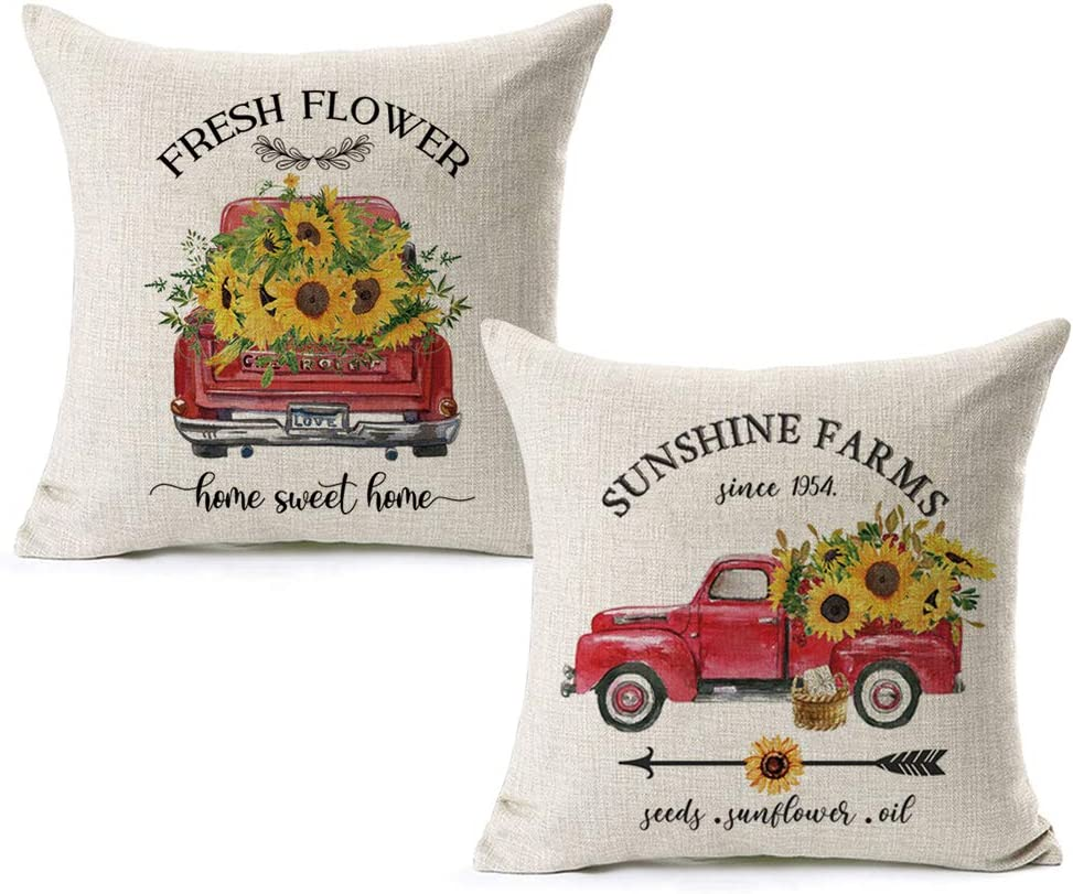 CARRIE HOME Summer Sunflower Outdoor Pillow Covers 18x18 Vintage Red Truck Sunflower Decor for Farmhouse Party Couch and Bedroom, Set of 2