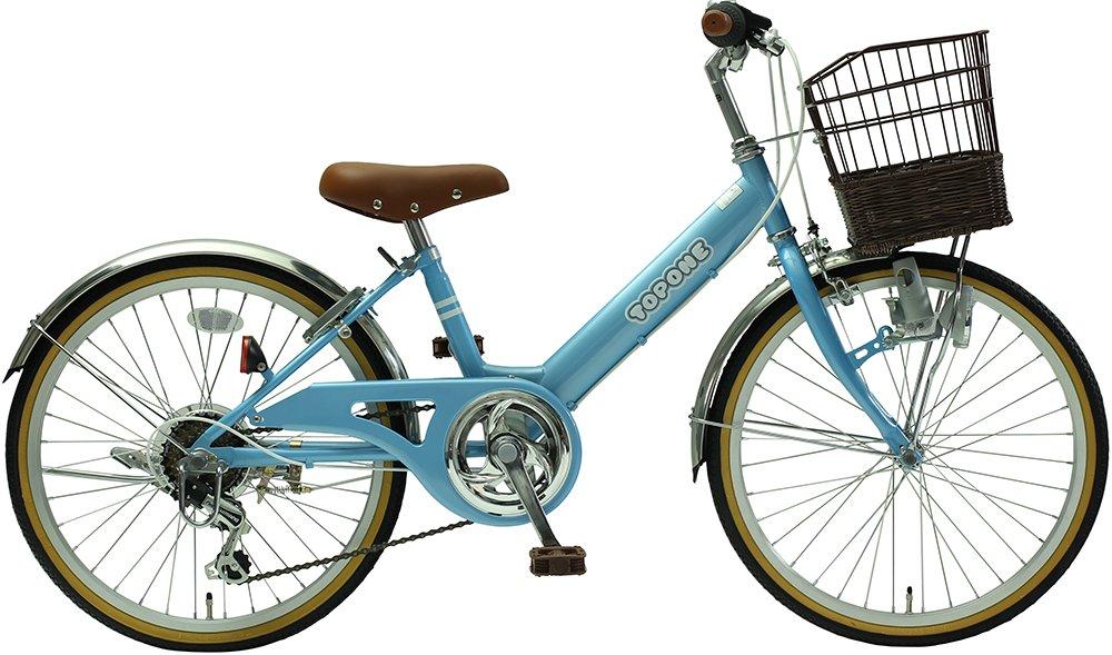 TOPONE 子供用自転車 20インチ 前カゴ付 シマノ6段変速ギア ステンレス泥除け シティサイクル キッズサイクル ジュニアサイクル 男の子 女の子 こども用 NV206-BL ライトブルー 水色 B018LUM6N4