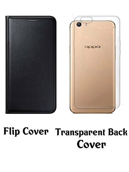 newest 97369 cf6f1 Oppo A57 Black Flip Cover With Transparent Soft Silicon: Amazon.in ...