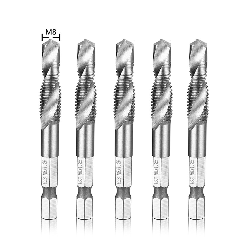 "Migiwata M8 x 1.25 Metric HSS 4341 Combination Drill and Tap Bit Set of 5pcs with 1/4"" Hex Shank and Self-centering Split Point for Tapping in Wood Plastic and Aluminum"