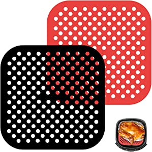 AmazeFun Reusable Air Fryer Liners, 8.5 Inch Square, Non-Stick Silicone Air Fryer Basket Mats, Accessories For Most Air Fryer, Air Fryer Parchment Paper, BPA Free (2-Pack)