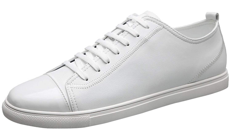 HhGold Herrenmode Turnschuhe Klassische Schuhe Casual Leder Tennisschuhe (Farbe   Weiß, Größe   40EU)  | Attraktives Aussehen