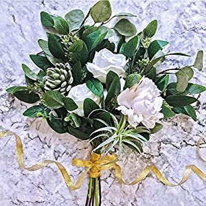 "Supla 6 Pcs Faux Seeded Eucalyptus Leaves Spray Fake Artificial Eucalyptus Stems Bulk in Green 25"" Tall for Eucalyptus Wreaths Garland Bouquet Floral Arrangements Holiday Greens Christmas Greenery 4"