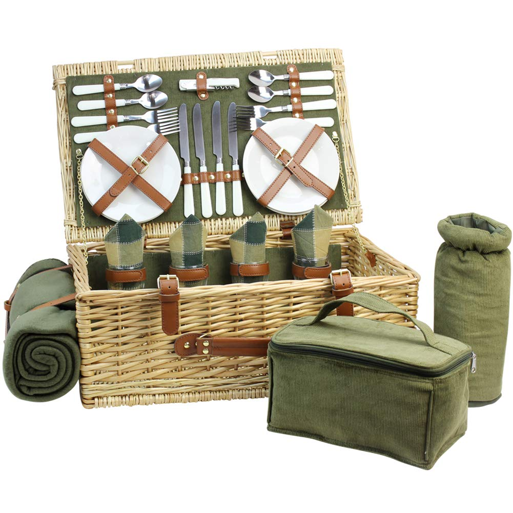 Large Wicker Picnic Basket for 4 with Deluxe Service Set, Natural Willow Picnic Hamper with Food Cooler, Wine Cooler, Free Fleece Blanket and Tableware - Best Gift for Father Mother by HappyPicnic
