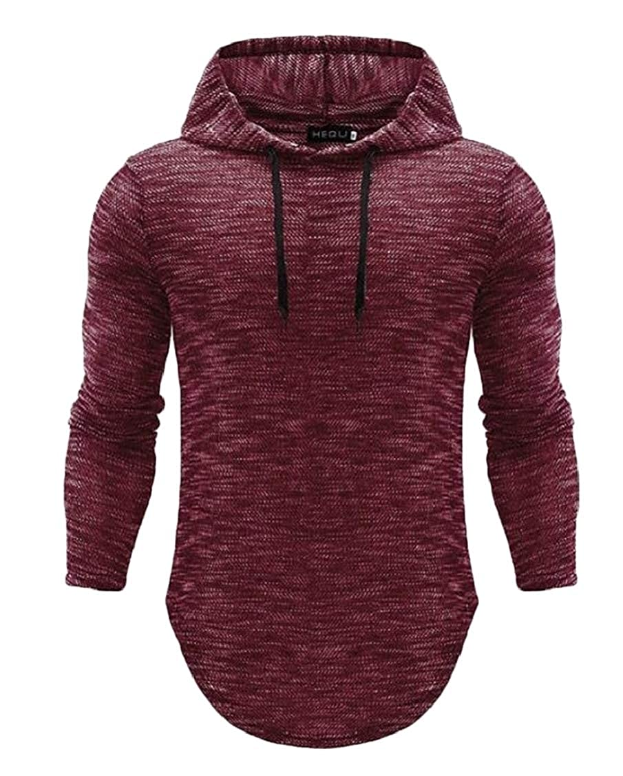 Rrive Mens Stylish Plus Size Curved Hem Casual Hooded T-Shirt Tee