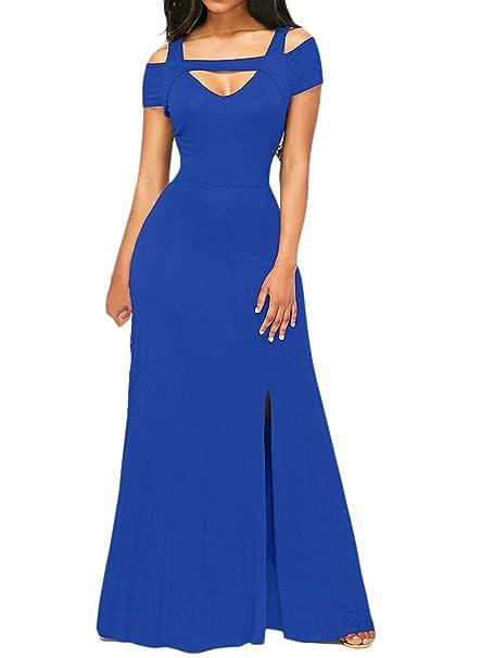 Mujer Vestidos De Fiesta Largos De Noche Moda Elegantes Manga Corta V Lindo Chic Cuello Sin