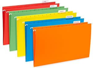 Blue Summit Supplies Hanging File Folders, 25 Reinforced Hang Folders, Designed for Home and Office Color Coded File Organization, Legal Size, Assorted Colors, 25 Pack