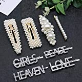 Pearls Hair Clips for Women Girls, Allucho 10pcs Fashion Gold Bows/Clips/Ties/Hairpins/Barrettes for Party Wedding (8 PCS pearl and letter hair clips)