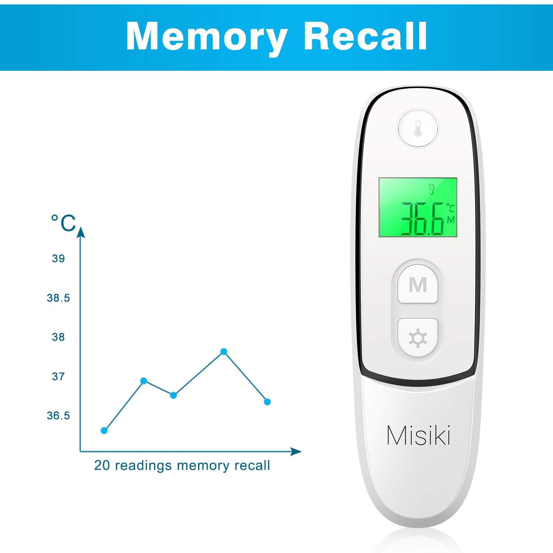 Termómetros Digital Bebé, Misiki 4 in 1 Infrarrojo Termómetro Médico Alta Precisión para Niños Adultos y Ambiente & Objetos con Alarma De Fiebre, ...