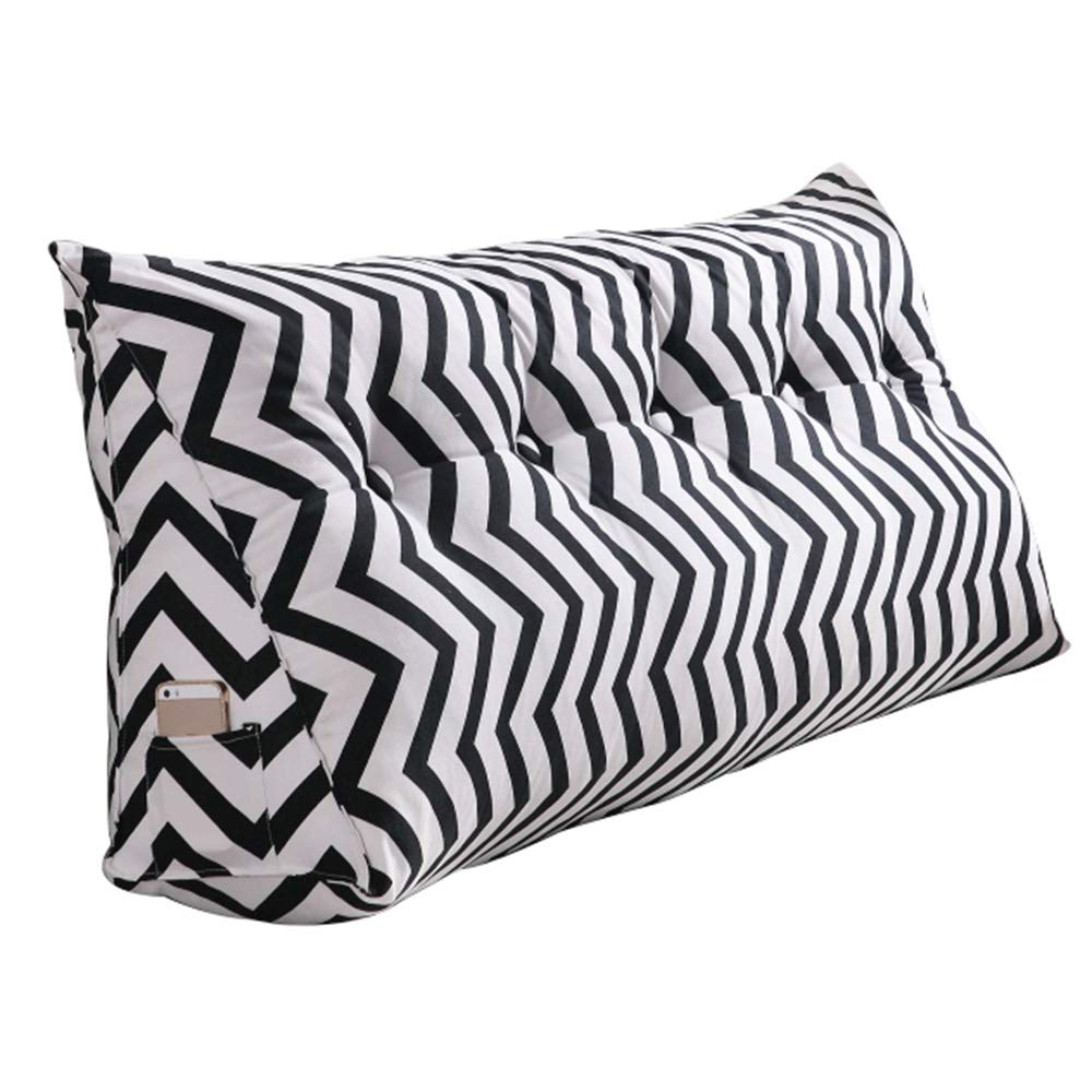 Lumbar Pillow Cailin, Bedside Triangular Pillow, Cushion, Soft Pack Bed, Large Back, Removable and Washable (Color : Black, Size : 1002050cm)