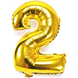 B-G 40 Inch Number 0-9 Thickening Gold Foil Digital Foil Mylar Balloons for Birthday Party Wedding Anniversary (Number 2) BA02
