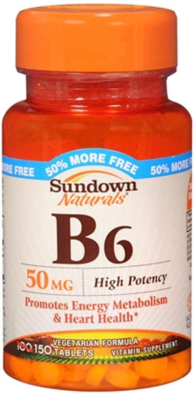 Sundown B-6 50 mg Tablets 150 Tablets (Pack of 12) by Sundown