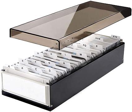 Lbhms Boite De Rangement En Metal Avec Intercalaires Et Onglets Noir 800 Cartes Amazon Fr Fournitures De Bureau