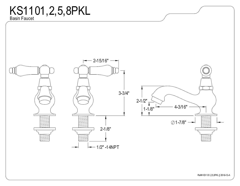 Kingston Brass KS1105PKL Duchess Basin Tap Faucet with Cross Handle 4-3//16 In Spout Reach Oil Rubbed Bronze