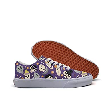 315b726ce2 Amazon.com  Skull heart purple checkerboard Men s Lace-up Low Top Shoes  Canvas Casual Skate Shoes  Clothing