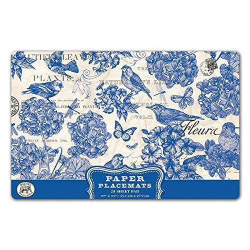 Michel Design Works 25 Count Paper Placemats, Indigo Cotton