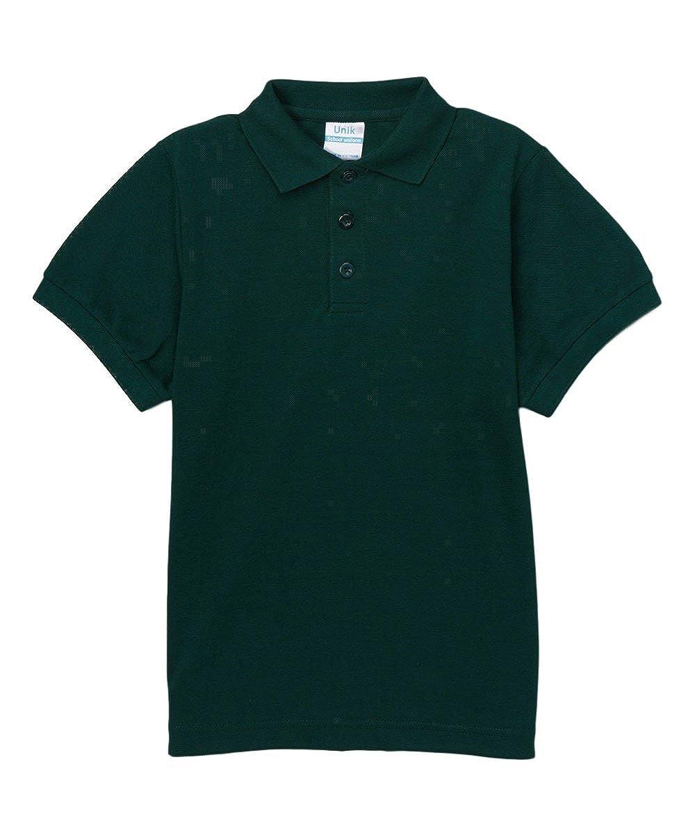 unik Boy's Uniform Pique Polo Shirt Short Sleeve White Sky Blue Navy Hunter Green Burgundy Black Red BSU-01-P