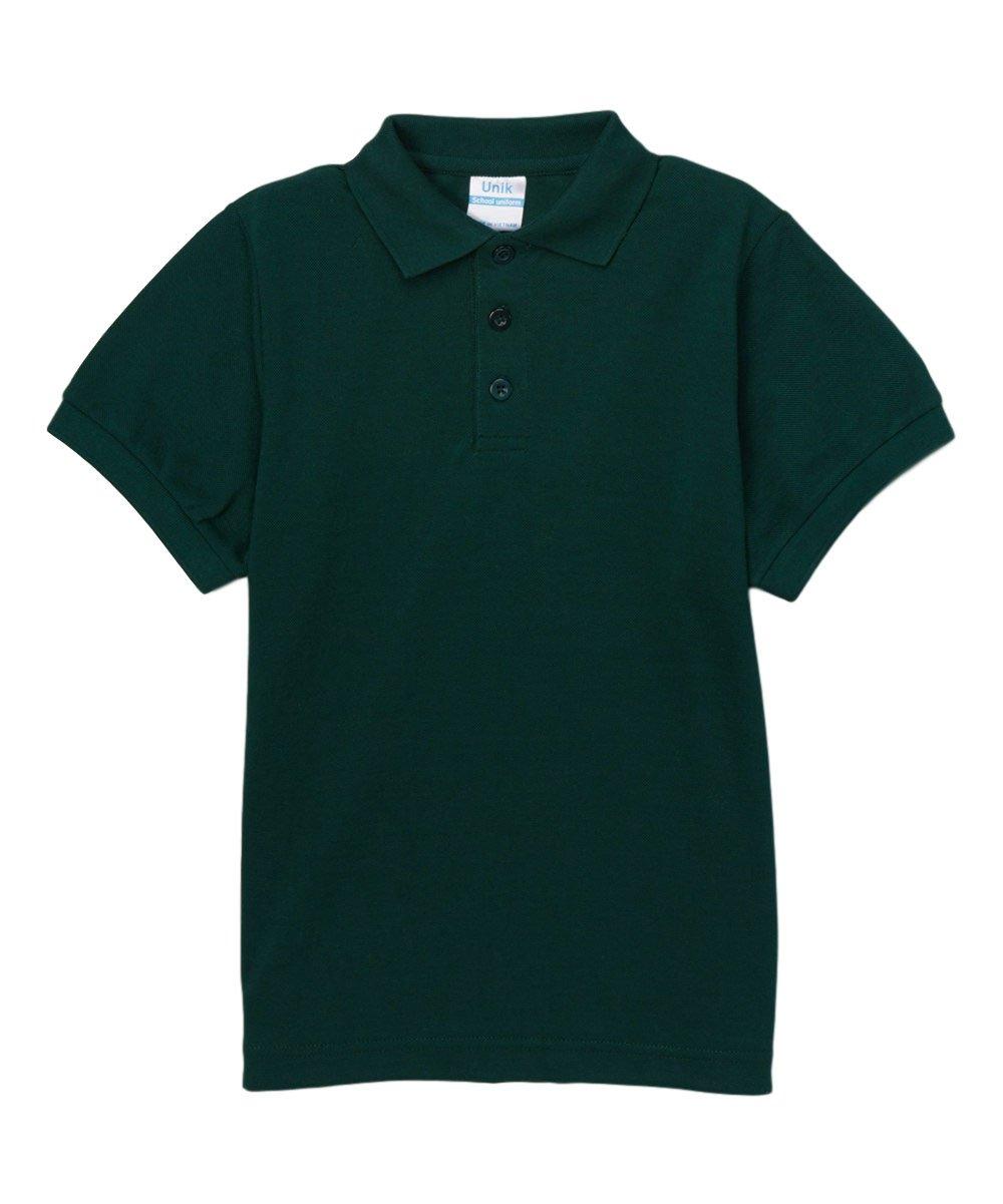 Boy's Uniform Pique Polo Shirt Short Sleeve, Hunter Green Size 18 by unik