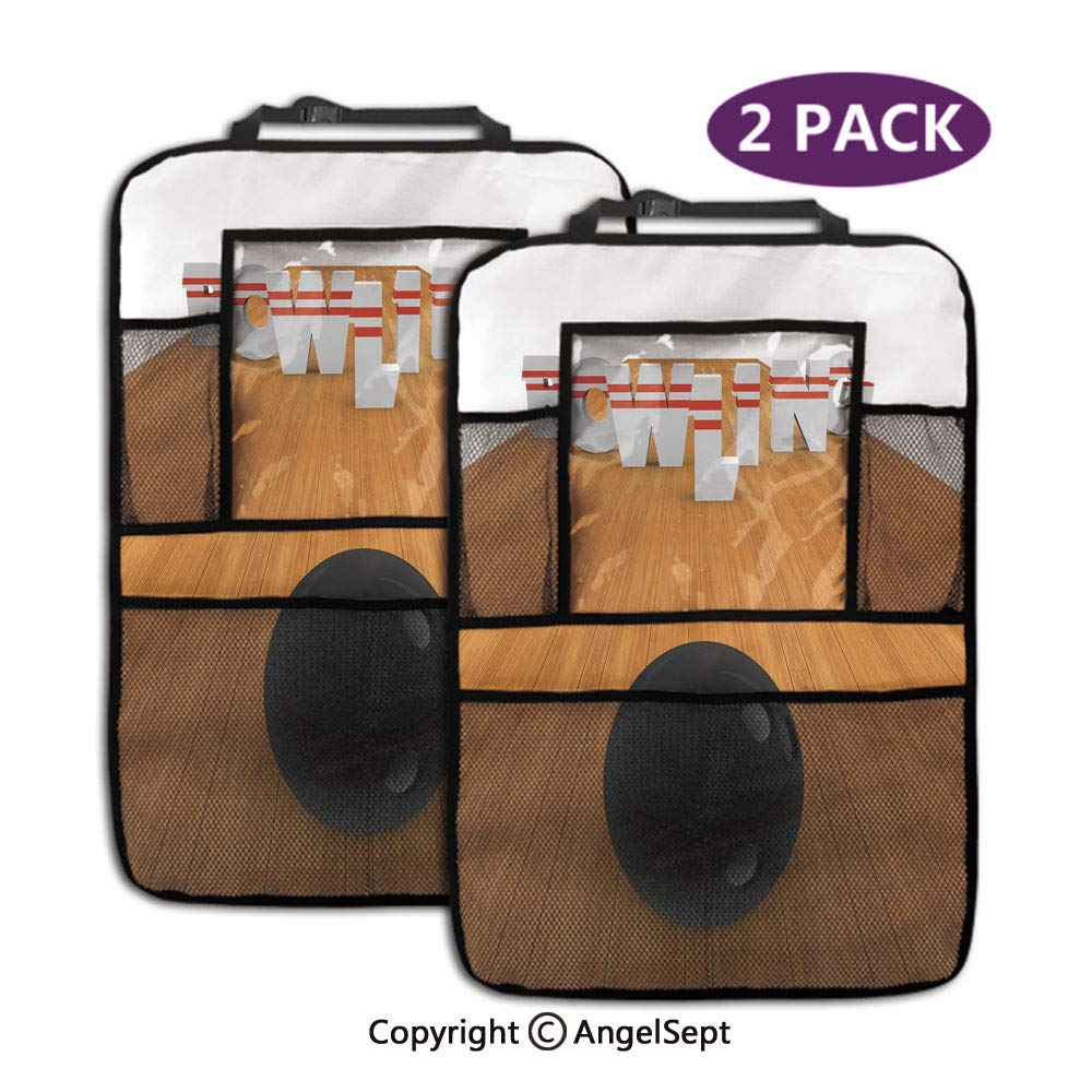 Backseat Car Organizer Kick Mats,Bowling Alley with Skittles and Ball in Position Light Brown Black White,19.3x27.2inch,Storage Bag for Kids Toddlers(2 Pack) by RWNFA