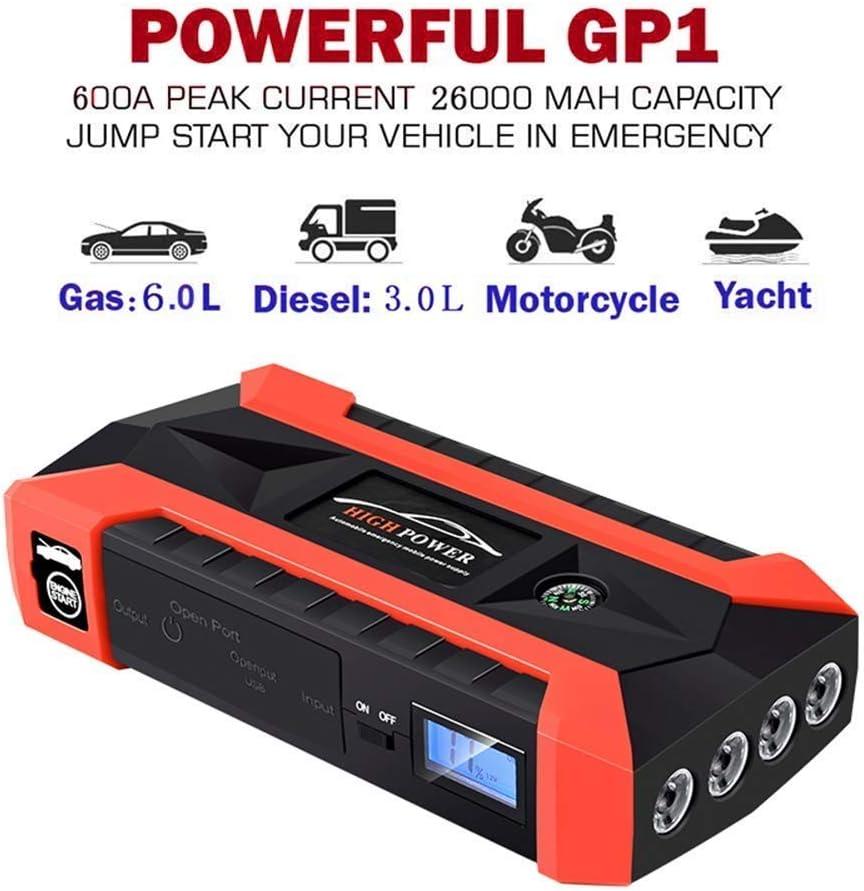 Arrancador del salto del coche 1000A pico de corriente con derivaciones mejoradas como 20000mAh Bater/ía Pack con doble puerto 4USB y linterna LED
