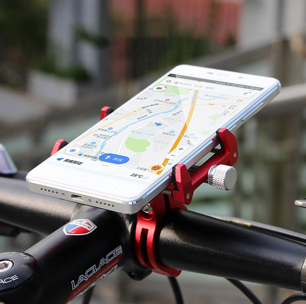 MaxMiles Motorcycle and Bicycle Cell Phone Holder Aluminum Universal Adjustable Phone Mount Smartphone Holder Bike Handlebar Phone Holder For iPhone X 5 6 7 8 Plus Samsung LG (Rotation Black) by MaxMiles