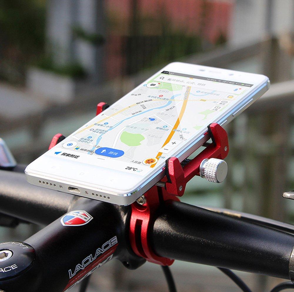 MaxMiles Motorcycle and Bicycle Cell Phone Holder Aluminum Universal Adjustable Phone Mount Smartphone Holder Bike Handlebar Phone Holder For iPhone X 5 6 7 8 Plus Samsung LG (Rotation Black)