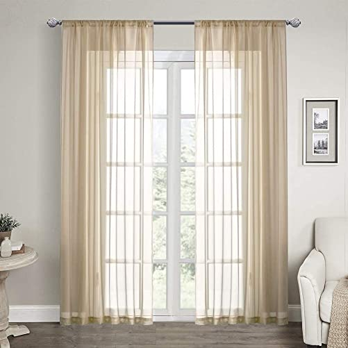 CNLAY Solid Sheer Curtains 84 inches Long, Beige Sheer Voile Rod Pocket Window Treatments Curtain, 2 Panels 72 W x 84 L