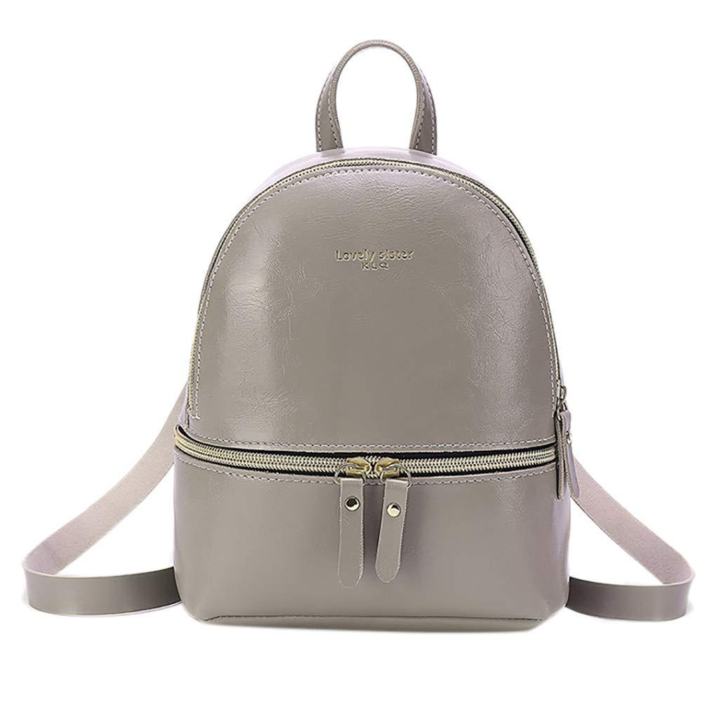 Onefa Double Shoulder Bag Fashion Lady Backpack Letter Purse Mobile Phone Messenger Bag Satchel Durable Laptops Backpack Casual Daypacks College School Computer Bag for Lady Womens (Gray)