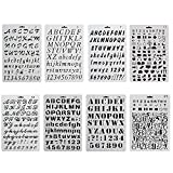 CCMART Plastic Bullet Journal Stencil Template Set of 8 with Letters Number Alphabet Symbol Pecfect for Planner/Notebook/Diary/Scrapbook/Journaling/Graffiti/Card DIY Drawing Painting Craft Projects