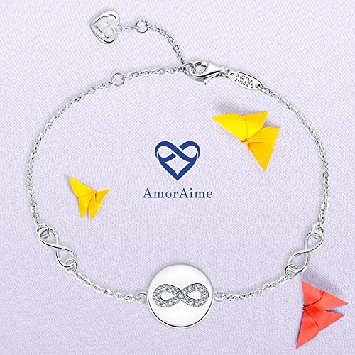 AmorAime 925 Sterling Silver Infinity Symbol Endless Love Cubic Zirconia Disc Bracelet Gifts for Women Girls by AmorAime (Image #3)