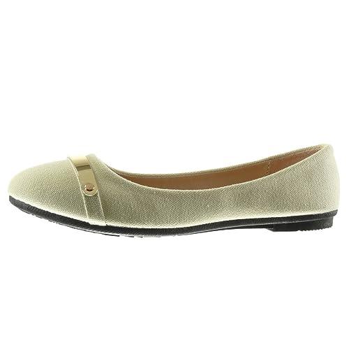 Angkorly Zapatillas Moda Bailarinas Slip-on Mujer Metálico Trenzado Talón Tacón Plano 1 cm: Amazon.es: Zapatos y complementos