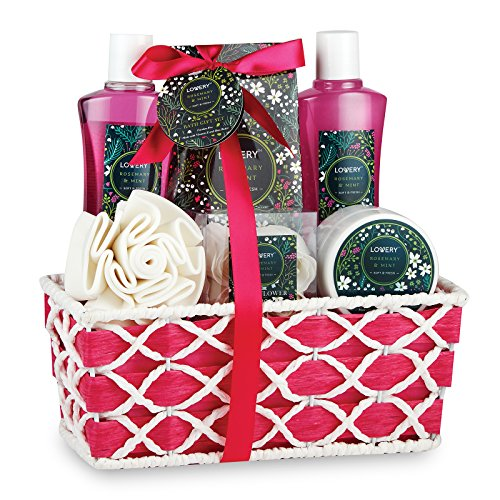 Spa Gift Basket with Refreshing Rosemary Mint Scent - Best Wedding, Birthday, Anniversary or Graduation Gift for Women - Bath Gift Set Includes Shower Gel, Bubble Bath, Bath Salt, Body Lotion & More!