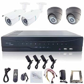 4 ch 1920 x 1080P Tiempo real HD-SDI juego de cámara sistema de seguridad CCTV DVR Kit 3 TB Disco duro: Amazon.es: Electrónica
