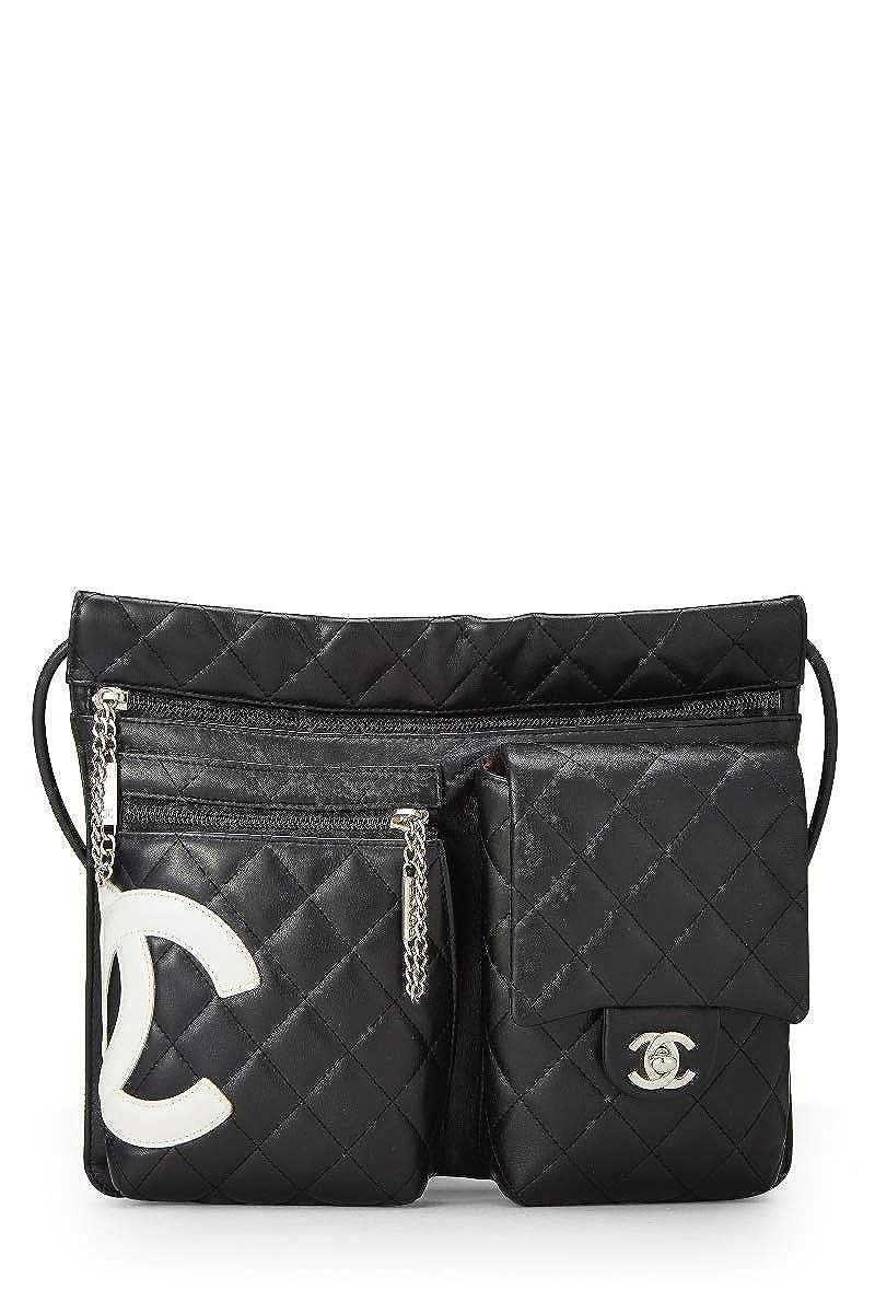 CHANEL Black Quilted Calfskin Cambon Ligne Shoulder Bag (Pre-Owned)