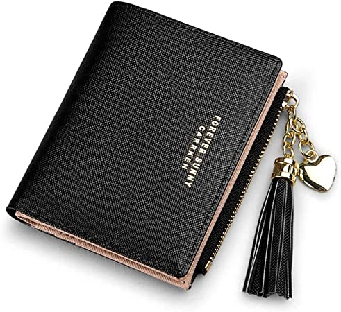 Womens Small Wallet Women Short Korean Version Cute Small Ultra-Thin Simple Mini Folding Card Bag Students/ / Pink