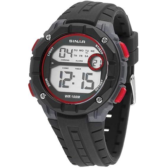 SINAR XE-56-4 - Reloj de Pulsera para jóvenes (Digital, Cuarzo, Sumergible a 10 Bares), Color Negro, Gris y Rojo: Amazon.es: Relojes