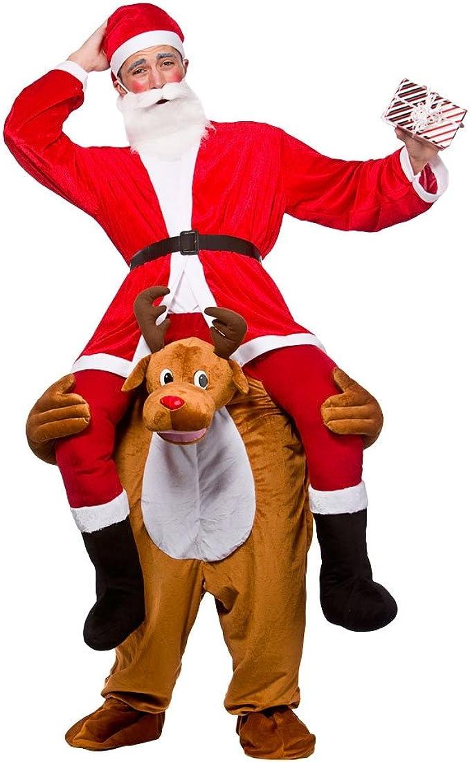 Disfraz de hombre de Papá Noel montado sobre reno, para adulto ...