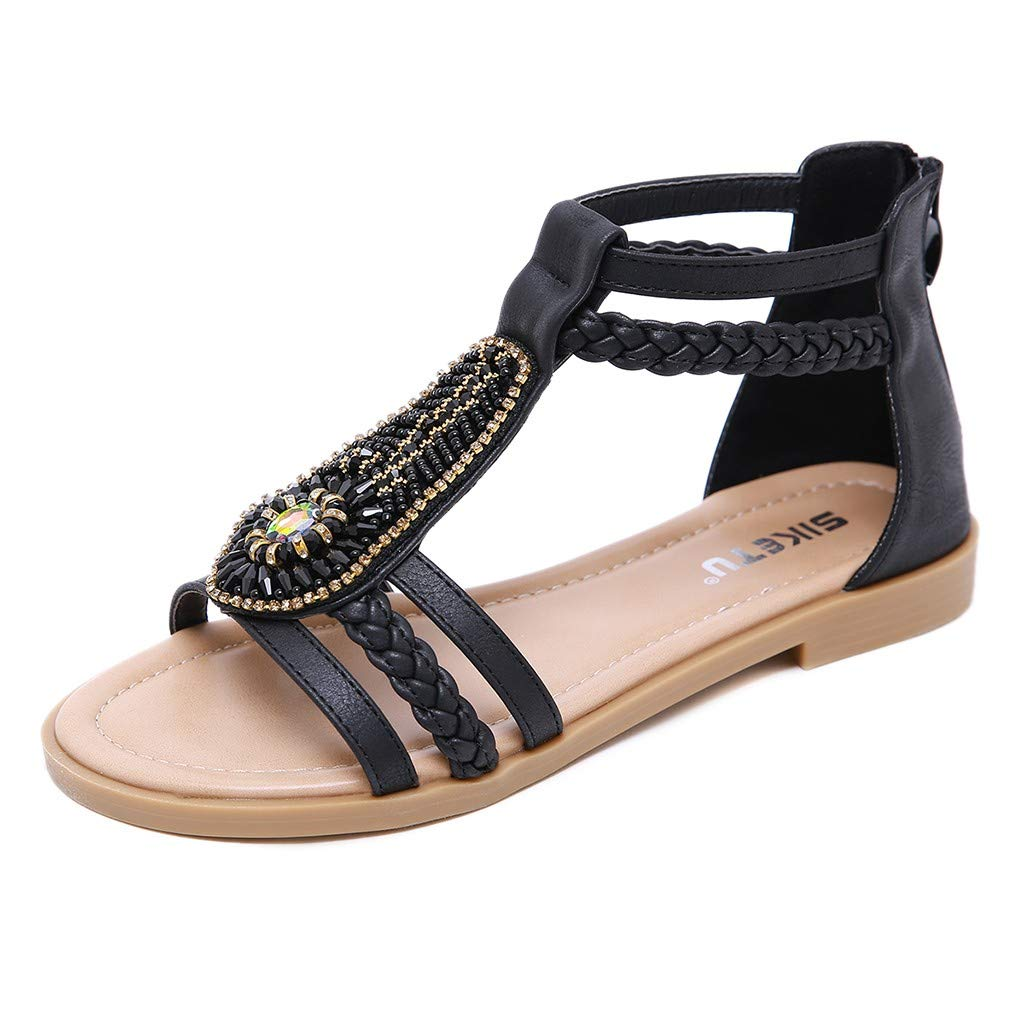 HHei_K Women Bohemian Retro Vintage Sandals Diamond Rome Shoes Ladies Flat Crystal Zipper Sandals Casual Shoes Black