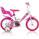 WDK Partner - A0901940 - Vélo pour Enfant - 1 Frein - Blanc/Rose - 12 pouces