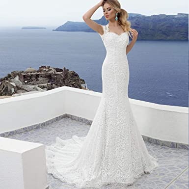 Bohemian Mermaid Bridal Wedding Gown With Open Back