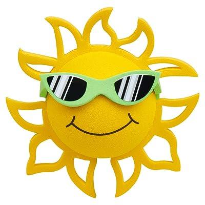 Coolballs California Sunshine w Sunglasses Car Antenna Topper/Rear View Mirror Dangler/Desktop Spring Stand Bobble (Green Sunglasses - Fits Thick Fat Style Antenna): Automotive