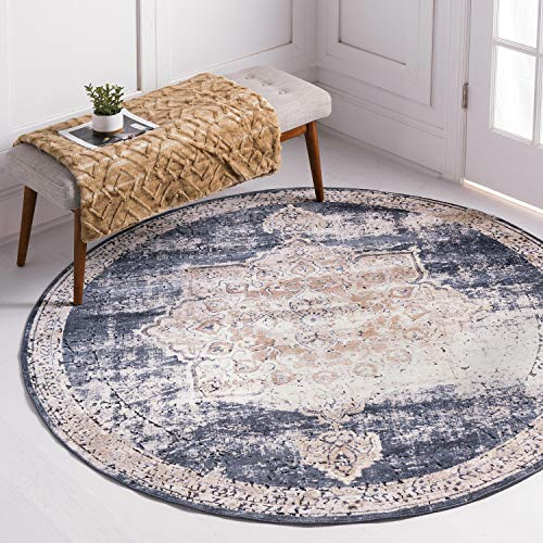 Unique Loom Chateau Collection Distressed Vintage Traditional Textured Dark Blue Round Rug (6' 0 x 6' 0)