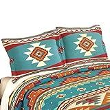 Collections Etc Southwest Cheyenne Aztec Native American Turquoise Fleece Pillow Sham